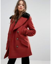 Free People | Red Sedgwick Faux Fur Collar Pea Coat | Lyst