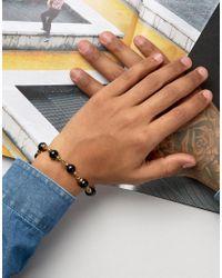Mister - Metallic Maxime Chain & Onyx Bead Bracelet In Gold for Men - Lyst