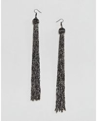ASOS DESIGN - Metallic Extra Long Dark Silver Bead Tassel Earrings - Lyst