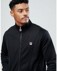 Fila - Black Track Jacket With Front Panel for Men - Lyst