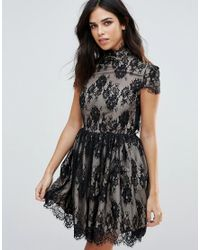 Zibi London | Black Capped Sleeve Skater Dress With Contrast Underlay | Lyst