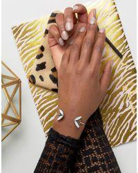 ASOS - Metallic Open Jewel Petal Cuff Bracelet - Lyst