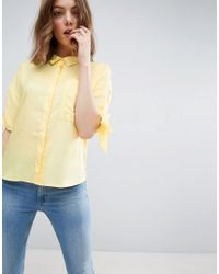 ASOS | Yellow Boxy Casual Shirt With Tie Sleeve | Lyst