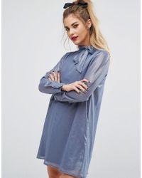 Fashion Union   Blue Mini Dress With Neck Detail   Lyst