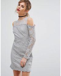 Fashion Union | Gray Cold Shoulder Lace Dress | Lyst