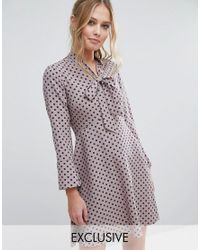 Closet   Multicolor Closet Polka Dot Dress With Pussybow And Fluted Sleeve   Lyst