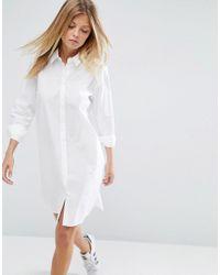 ASOS - White Cotton Shirt Dress - Lyst