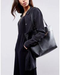 ASOS   Black Front Pocket Shopper Bag With Removable Clutch   Lyst