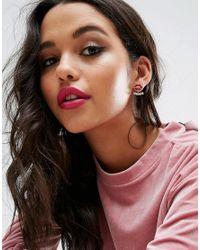 ASOS - Red Lip Crystal Swing Earrings - Lyst