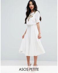 ASOS | Natural Embellished Crop Top Midi Skater Dress | Lyst