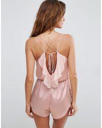 ASOS - Pink Zoe Strappy Ruffle Back Teddy - Lyst