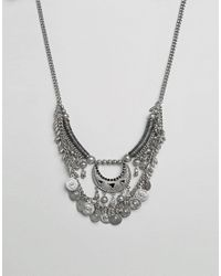 Pieces | Metallic Mia Multi Row Coin Necklace | Lyst