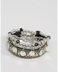 Pieces | Metallic Mia Multipack Stacking Bracelets | Lyst