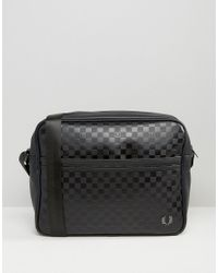 Fred Perry | Checkerboard Messenger Bag In Black for Men | Lyst
