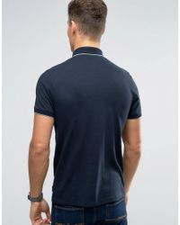 Ted Baker - Blue Polo With Textured Collar for Men - Lyst