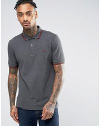 Fred Perry | Slim Pique Polo Shirt Twin Tipped In Gray for Men | Lyst