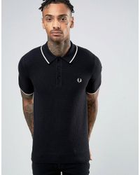 Fred Perry | Check Knit Polo Shirt In Black for Men | Lyst
