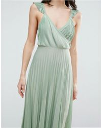 ASOS - Green Ruffle Cross Back Pleated Maxi Dress - Lyst