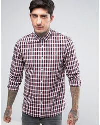 Fred Perry | Small Check Shirt In Red for Men | Lyst