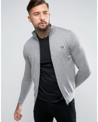 Fred Perry   Gray Zipthru Cardigan In Grey for Men   Lyst