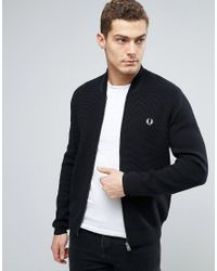 Fred Perry | Blue Bomber Neck Cardigan In Navy for Men | Lyst