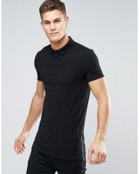 ASOS | Longline Muscle Polo In Black With Side Zips for Men | Lyst