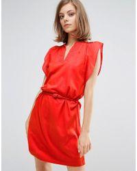 Vanessa Bruno Athé | Red Vanessa Bruno Athe Tunic Detailed Dress | Lyst