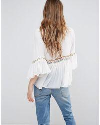 Vero Moda - White Printed Peplum Top - Lyst