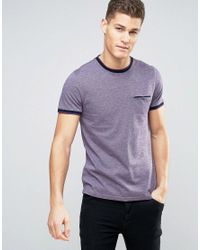 Ted Baker | Purple T-shirt With Contrast In Texture for Men | Lyst