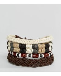 ASOS - Multicolor Fabric And Bead Bracelet Pack - Lyst