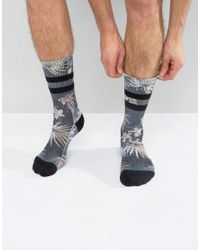 Stance - Frigate Sock With Flower And Stripes In Black for Men - Lyst
