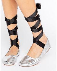 Pull&Bear   Metallic Lace Up Ballet Pump   Lyst