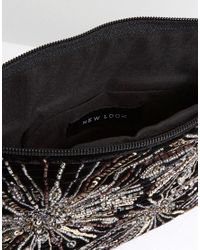 New Look - Black Firework Embroidery Clutch - Lyst