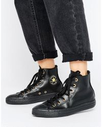 Converse | Chuck Taylor Hi Top Trainers In Black With Gold Eyelets | Lyst