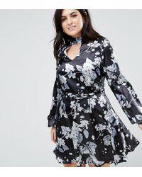 Lyst - Club L Plus Satin Printed Choker Skater Dress in Black 4f49ebf65