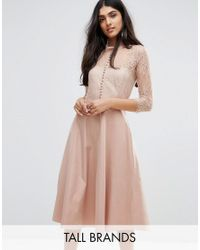 Y.A.S | Pink Pretty Skater Dress With Lace Yoke And 3/4 Sleeves | Lyst