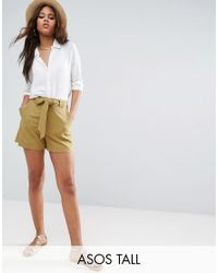 ASOS | Green Tailored Short With Self Tie | Lyst