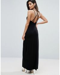 ASOS | Black Maxi Dress With Strappy Back Detail | Lyst