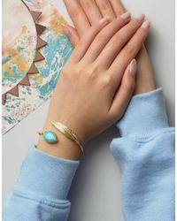 Ottoman Hands - Metallic Feather & Semi Precious Stone Bracelet - Lyst