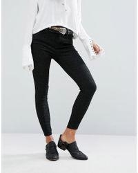 Free People | Black Jacquard Skinny Peyton Jeans | Lyst