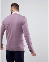 ASOS - Purple Asos Merino Wool Cardigan In Lilac for Men - Lyst