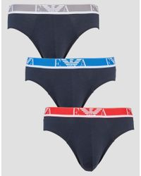 Emporio Armani | Blue 3 Pack Briefs for Men | Lyst