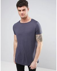 ASOS - Gray Longline T-shirt In Textured Fabric With Boat Neck for Men - Lyst