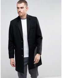 ASOS - Wool Mix Overcoat In Black for Men - Lyst