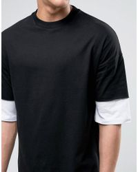 ASOS - Black Oversized T-shirt With Contrast Layer Half Sleeve for Men - Lyst