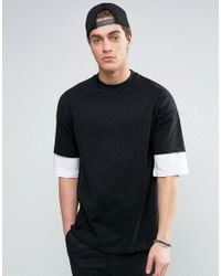ASOS | Black Oversized T-shirt With Contrast Layer Half Sleeve for Men | Lyst