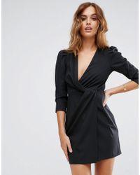 ASOS DESIGN - Black Asos Wrap Front Mini Dress - Lyst