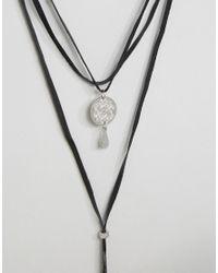 ASOS - Black Coin Wraparound Choker Necklace - Lyst
