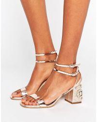 616ef5ec6658 Miss Selfridge Jewelled Block Heel Sandals in Metallic - Lyst