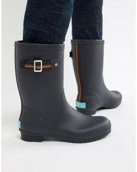 Paul Smith - Blue Krupa Stripe Detail Wellington Boots In Dark Navy for Men - Lyst
